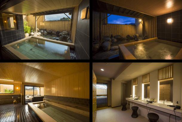 総ヒノキ露天風呂&岩風呂付き大浴場